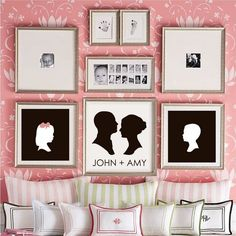 family picture and silhouette wall  (I love how they've incorporated black and white photos with the silhouettes-L)