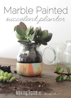 Cute Marble Painted Succulent Planter from http://www.makinghomebase.com/
