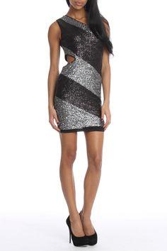 Black & Silver Cut Out Dress