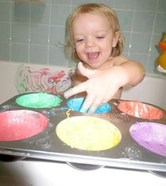 Baby Bath Paint    To make baby bath paint you will need:  Baby powder  Food coloring  Tear free baby bubble bath    In a bowl combine one part baby bubble bath with three parts baby powder.  You could also use water but the bubble bath adds scent, a shiny texture, and bubbles form as they play making this paint quite FUN!  Add a couple drops of food coloring for color and that's it!