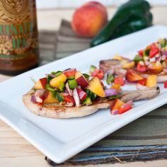 IPA Marinated Citrus Pork Chops with Peach Poblano Salsa