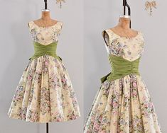 vintage 1950s dress - party dress / floral print / belle of the ball