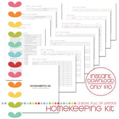THE HOMEKEEPING KIT via A Bowl Full of Lemons. --->  Plan out your daily routine, cleaning routines & seasonal maintenance schedule with these printables. Take the thought process out of your cleaning routine. It's all planned out for you here. I've even included laundry recipes to help save you money.  Everything you need to keep your home clean & in working order is included in this comprehensive kit.