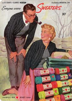 A wonderfully charming illustrated cover featuring Chadwick's Red Heart Yarns, 1952.