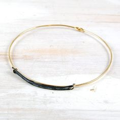 Gold Fill Bangle with Oxidized Sterling Silver Bar from Fail Jewelry