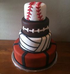 sports themed cake--@Julia Smith Smith, can I hire you to make something like this??? sports birthday, boy cakes, boy birthday cakes, groom cake, themed cakes, sport cakes, little boys, parti, sweet cakes