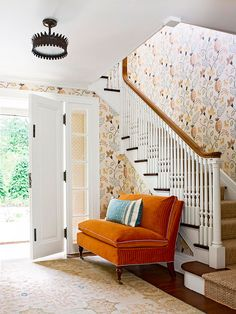 stair, couch, color schemes, burnt orange, colors, foyer, entryway, wallpaper patterns, mustard yellow