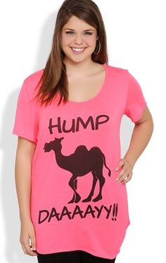 Deb Shops Plus Size #Neon #Hump #Day Graphic Tee with Camel Screen $15.00