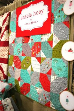 I love these fabrics!  Quilt Market Booth Aneela Hoey