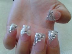 Glitter powder with 3D bow design by Lynn. Cost $60 for fullset | Yelp