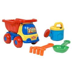 """Caillou Dump Truck Beach Play Set by IMPORTS DRAGON. $12.99. This fun set features a dump truck with tilting bin and plastic rolling wheels. Dump truck measures approx. 5-1/2"""" W x 9-1/2"""" L x 6-1/2"""" HPlastic rakePlastic shovelPlastic watering canAge: 3+WARNING: CHOKING HAZARD - Small Parts. Not for children under 3 yrs."""