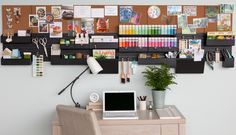 What a fabulous work station, equipped with the #MarthaStewartHomeOffice Wall Manager. How would you design yours? Available at #Staples. #homeoffice #dreamoffice #springcleaning #easyorganization #affordable