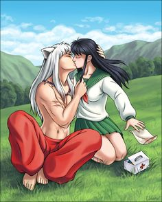 Inu Yasha and Kagome from the anime Inu Yasha.