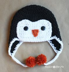 hats, penguin crochet hat pattern, penguin hat, free crochet, penguin crochet patterns, hat patterns, knit, crochet penguin, repeat crafter