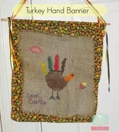 Turkey Hand Banner. Pin and do it with your children! :) #thanksgiving #crafts #DIY
