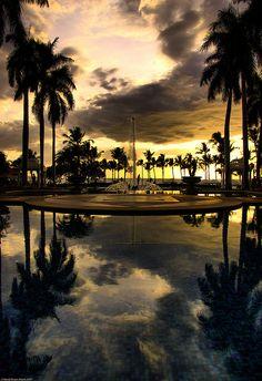 Reflective Sunset at the Grand Wailea Resort Hotel.