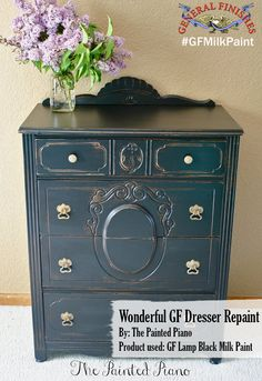 The Painted Piano, https://www.facebook.com/ThePaintedPiano?fref=ts, revamped this dresser with General Finishes Lamp Black Milk Paint. To get your own can of General Finishes Milk Paint, visit your local Woodcraft and Rockler stores or you can find a retailer near you on our website: http://generalfinishes.com/where-buy#.UxDeq14ahow. Limited selections are also available at www.leevalley.com in Canada and Rockler Woodworking in the U.S.