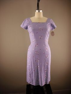1950s lilac embroidered wiggle dress size small by melsvanity, $78.00