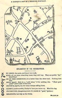 Hobo Language Map: John Camden Hotten, 1870