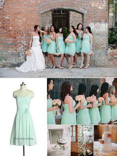Short Mint Bridesmaid Dresses spring 2014 wedding trend