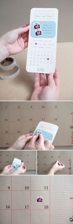 Wedding: Sticker reminder Save The Dates. Now THAT is a great idea!
