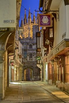 Canterbury High Street with a view of the Cathedral.  England