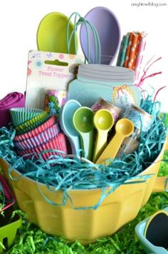 Easter Basket Ideas - I like the idea of a bowl in place of a basket