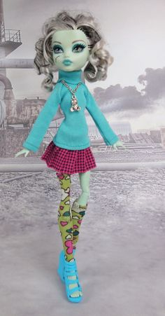 Monster High doll clothes outfit turquoise sweater by JonnaJonzon