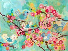 Cherry Blossom Birdies Canvas Wall Art