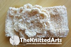 Cream Coloured Floral Headband in Bulky Wool