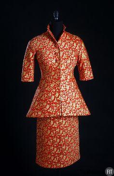 Designer: Charles James  1906-1978  Medium: Red silk with gold metallic threads  Date: 1955