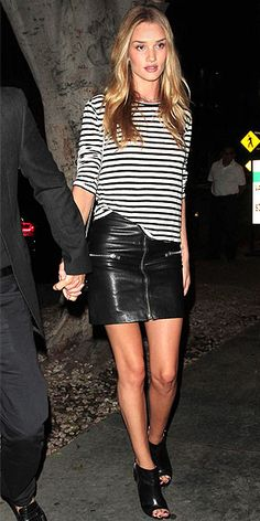 boat-neck striped T by Alexander Wang top and zipper-adorned Saint Laurent mini.