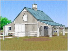 The Chestnut Hill Barn - This small, all-purpose pole-barn combines two horse stalls, a run-in or grooming shelter, a loft, a big alley and a seperate shed for a workshop and tractor garage. Click on the barn to see a floor plan. Blueprints are available at BackroadHome.net