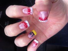 Baseball nails with his number! Sports nail design Nail Designs With Sports, Nails Art, Softball Nails Design, Hair Beauty, Nails Hair, Nails Ideas, Baseball Nails With Numbers, Hair Nails Jewelry, Sports Nails Design