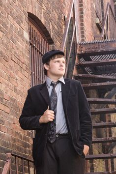 Fall River, July 2012  #senior #portrait #stairs #city #vintage #guy #pose