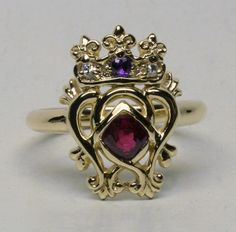 Scottish 14K Luckenbooth Ring With Natural by postgatejewelers, $1900.00