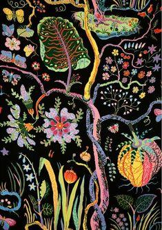 pattern, color, art, josef frank, textiles, fabric, print, design, tree of life