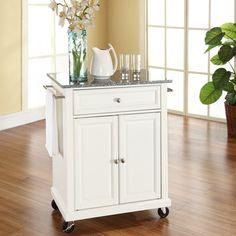 Crosley Solid Granite Top Portable Kitchen Cart/Island in White
