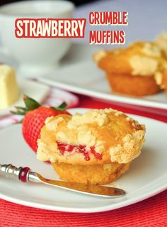Strawberry Shortbread Crumble Muffins - beautiful vanilla scented muffins bursting with ripe juicy strawberries and topped with a buttery shortbread crumble.