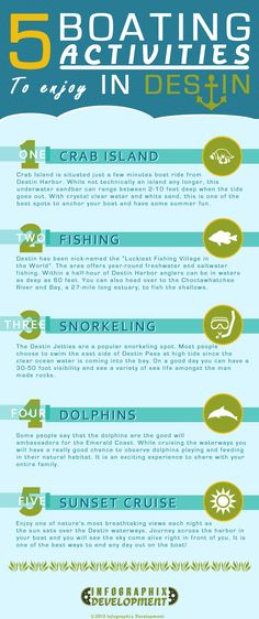 Top Boating Activities in Destin Infographic - In this infographic we have gathered the top five boating activities to enjoy while in Destin, Florida.