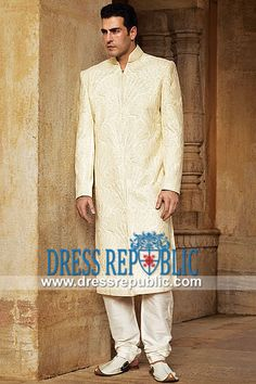 Style DRM1555 - DRM1555, Sherwani Kurta Styles 2013 Collection, Sherwani Cut Men's Kurta in UK, USA, Canada by www.dressrepublic.com