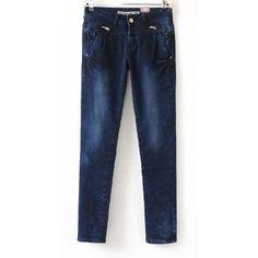 Dark Blue Zipper Embellished Hips Skinny Jeans ($31) ❤ liked on Polyvore