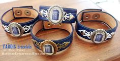 Doctor Who TARDIS  blue leather bracelet by MardiganEnterprises, $32.00