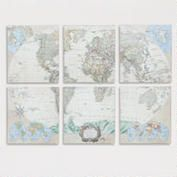 Six-Piece World Map Set, Set of 6