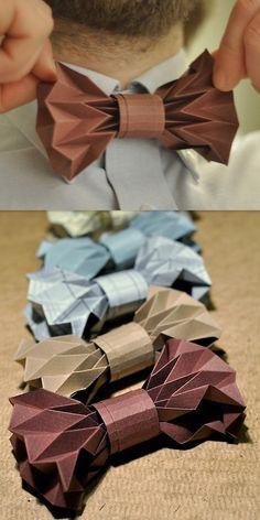 DIY Origami Bow Tie Tutorial from Fiber Lab