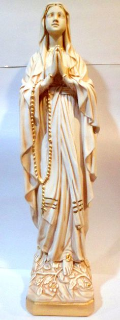 """24"""" French Cottage Finish PLASTER STATUE Our Lady of Lourdes France, The Blessed Mother Virgin Mary. by MotherMaryShabbyShop"""