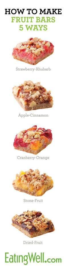 Make Healthy Fruit Bars with 5 different fruit combinations to choose from