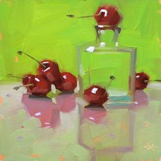 artists, monkeys, artworks, carol marin, marines, paintings, cherries, pink reflect, oil