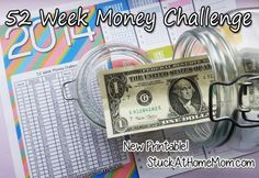 52 Week Money Challenge 2014 - Week 1 Get a jar and each week put in the amount listed..it starts with one buck and goes up by one more each week. By the last week of the year you will have over $1300 ! Print and stick the chart right into the big jar, or tape onto it so it wont get lost. Fun and pretty do-able!