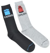 Doctor Who: Men's  TARDIS & Dalek Crew Socks (2 Pair) Awesome!